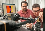 """Scientists from Argonne and Los Alamos National laboratories study crack formation in glass using a """"shock gun"""" for high pressure studies at the 32-ID-B beamline at the Advanced Photon Source at Argonne."""