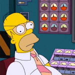 Homer Simpson sits in a nuclear control room and is sleeping