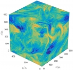 The number density of electrons and positrons in a 3D relativistic plasma turbulence simulation. The energy cascade causes structures to form over a broad range of scales, spanning from microphysical scales (on the particle gyration scale) to the box size