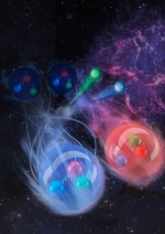 The image illustrates this process and shows how two neutrons (shown as blue spheres in the background) beta decay into a neutron and a proton (shown as a red sphere) under the emission of an electron and a neutrino (small green and blue sphere).