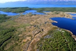 Helicopter view of thawing permafrost field site, Stordalen Mire, in northern Sweden.
