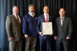 From left, Mid-America Conversion Services (MCS) Environment Safety & Health Manager Joe Johnson; Doug Raney, an MCS health, safety, and radiological control technician and United Steel Workers (USW) safety representative; Kentucky Gov. Matt Bevin;