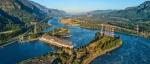 Sunrise at the Bonneville Dam near Portland, Oregon.