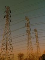 Power lnes at sunset