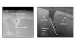 Electron microscopy of crack injection. Corrosion creates a nanoporous layer in the material (left) that propagates almost twice as far into the grain boundary as it does away from the boundary. The right image shows an injected crack.