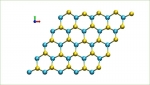 Waves of heat, called phonons, cause atoms to rotate in a certain direction. Selenium atoms (yellow) collectively go through a clockwise circular atomic motion while the tungsten atoms (blue) don't move.