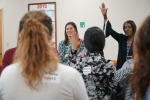 Women@LiquidWaste (W@LW) co-chair Christine Ridgeway, left, and chair Stephanie Franklin, right, participate in an icebreaker activity at a recent W@LW meeting at the Savannah River Site.