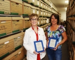 Isotek, a contractor for Oak Ridge's EM program, recognized Donna Stringfield, left, and Micelle McDaniels for their idea that led to a threefold increase in storage space at a facility, saving approximately $110,000 over the next five years.