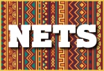 """NETS"" with generic indigenous pattern as background image"