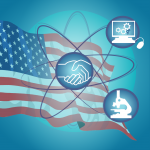 Graphic of American flag with three icons on it
