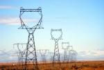 Power lines in a field