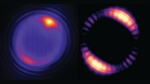 At left, a tiny bead struck by a laser produces optical modes that circulate around the interior of the bead. At right, a simulation of how the optical field inside a 5-micron (5 millionths of a meter) bead is distributed.