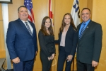 From left, DOE Office of Legacy Management (LM) Director Carmelo Melendez, LM Fellows Beatriz Perasso and Olivia Bustillo, and Leonel Lagos, the DOE Fellows Program director and principal investigator for the DOE-Florida International University cooperati