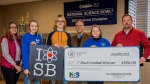 Heath Middle School students accept a cash prize for their school for designing the official T-shirt for the DOE Regional Science Bowl in western Kentucky.