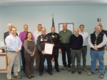 Representatives of EM West Valley Demonstration Project (WVDP) and CH2M HILL BWXT West Valley (CHBWV) recognized Capt. James Madden for his lifesaving response to Cattaraugus County Sheriff's Office Sgt. Jason Dry.