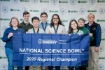 Gatton Academy Team One is shown with the winners' banner following the DOE West Kentucky Regional Science Bowl.