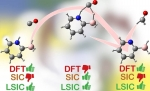 Density functional theory (DFT) creates models of stable molecules (left, right). It needs self-interaction correction (SIC) for stretching and breaking chemical bonds (center), but SIC reduces accuracy on stable molecules. LSIC works for all situations.