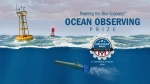 Illustrated logo of ocean waves and a buoy.