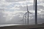 Wind turbines along a shoreline.