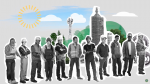 Clean coal plant with workers