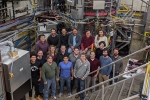 Members of the Pegasus team pictured in front of the fusion experiment in February 2020.