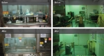 Before-and-after photos of cleanup of two areas in the F Area Analytical Laboratory facilities at the Savannah River Site.
