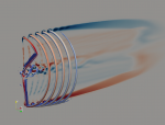 Image showing the flow structure around an NREL 5-megawatt wind turbine rotor generated by the ExaWind Nalu-Wind high-performance computational code.