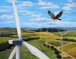 Illustration of a golden eagle flying amid wind turbines.
