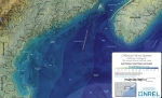 Map of the gulf of Maine showing wind speed.