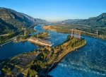 Hydropower plant surrounded by water.