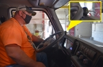 Blind spot technology being installed on UCOR vehicles features a display that alerts drivers when a person or object is nearby. Pictured is UCOR employee Nate Smith.