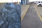 Before-and-after views show a walkway outside the Chemical Processing Plant-1671 that received new asphalt as part of infrastructure improvements at the Idaho Nuclear Technology and Engineering Center.