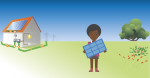 A picture of a house with solar panels and a woman holding a solar panel