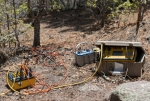 Crews conducted the geophysics study using a machine called the Super Sting to measure the resistivity of the complex underlying geologic strata.