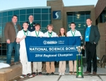 The academic team from Portsmouth Notre Dame High School recently competed in the 2014 National Science Bowl in Washington, D.C.  Team members, from left to right, are senior Scott Warren, junior Colin Haskins, junior Bobby Morris, senior Jessica Schmidt and senior Will Haney.  In the back row are, from left to right, U.S. Department of Energy representative Greg Simonton, Notre Dame Coach Matt Mader and Joel Bradburne, DOE representative and Site Lead at the Portsmouth Gaseous Diffusion Plant.  Notre Dame earned a berth in the national event after winning the South Central Ohio Regional Science Bowl on March 7, 2014, at Shawnee State University in Portsmouth.