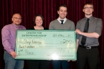 Sky Energy of Ohio University claimed first place in the competition for its clean and renewable energy pitch to construct a solar and wind facility at the Portsmouth site. From left, David Felty, Mishion Payne, Bobby Pfeiffer, and Zach Ousley.