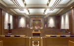 Photo of the inside of a courtroom.