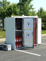 Altergy had more than 60 fuel cells in the immediate Hurricane Sandy disaster area that acted as backup power for cell phone towers.   Photo courtesy of Altergy.