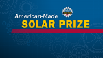"Graphic with a blue background and a watermark of spokes and wheels with the words ""American-Made Solar Prize"" at the top."