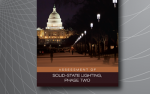 """A photo of the US capital at night with LED streetlights lining the steed. The image text reads """"Assessment of Solid-State Lighting Phase two"""""""