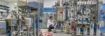 A scientist works on equipment inside Lawrence Berkeley National Laboratory's Advanced Biofuels Process Development Unit