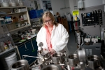 Barbara Kutchko, a well-bore cement researcher, studies the make-up and properties of cement used in oil and gas drilling.   Photo courtesy of the National Energy Technology Lab (NETL).
