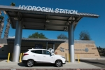 A fuel cell electric vehicle (FCEV) at a fueling station in California.