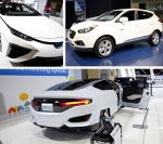 Toyota Mirai FCEV (top left), Hyundai Tucson FCEV (top right), and Honda's concept of its FCEV (bottom)—all showcased during the 2015 Washington Auto Show. | Photos by Sarah Gerrity, Energy Department