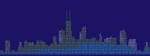 City skyline graphic comprised of data