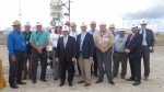 The Secretary was accompanied, during his visit, by (from left to right): Big Hill Site Director John Guidry, Field Operations Manager Darryl Rickner, Supervisory General Engineer Lionel Gele, Supervisory General Engineer Lisa Nicholson, Sr. Site Cavern Engineer Jim Perry, Daniel Evans, Office of Petroleum Reserves Deputy Assistant Secretary Robert Corbin, General Engineer Ron Gallagher, SPR Project Manager William Gibson, Site Operations Manager Tony Deville, General Engineer Suresh Sevak, the Secretary's Deputy Chief of Staff Jonathan Levy, and Special Assistant Mark Appleton.