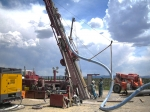 Angled drilling at an injection well at the project site.