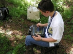 SRNS' Ashley Shull uses the Environmental Compliance Sampling Collection Tool to record data from samples taken at SRS.
