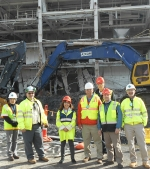 EM Assistant Secretary Monica Regalbuto, third from left, toured the SPRU demolition project with, left to right, DOE SPRU Project Controls Lori Erbele; DOE SPRU Federal Project Director Steve Feinberg; AECOM Project Manager Jeff Selvey; EM Consolidated Business Center Director Ralph Holland; EM Consolidated Business Center Deputy Director Kash Grimes; and SPRU Deputy Site Manager Hugh Davis.