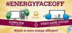 Round one of #EnergyFaceoff begins with the computer (CPU) vs. the video game system. Which is more energy efficient?   Graphic courtesy of Stacy Buchanan, National Renewable Energy Laboratory
